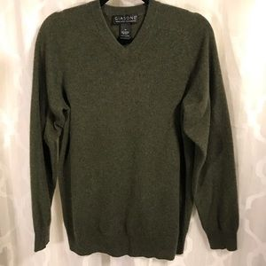 Soft Giasone 100% Cashmere V-Neck LS Sweater Med